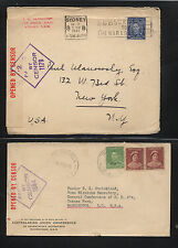 Australia  2 censor covers to US  #s 1584 and 1179        KL0219