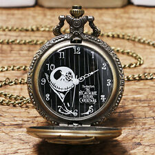 Bronze Quartz Pocket Watch The Nightmare Before Christmas Gift Necklace Pendant