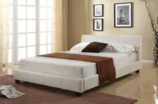 New Roma Cheap 4ft6 Double White Modern Designer Faux Leather Bed Frame *SALE*