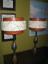 Pair of Mid Century Vintage Style 3 Tier Fiberglass Lamp Shades Atomic BOI3