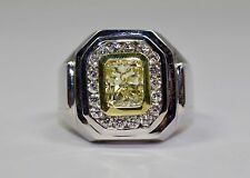 Men's 18k White Gold Yellow Diamond With A Halo Of Round Diamond Ring Size 8.75
