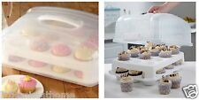 24 CUPCAKE CADDY CARRIER * 2 TIER STACKING BOX STORAGE DISPLAY HOLDER LID