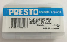 """Presto UK 9/16"""" x 18tpi HSS UNF Set of 3 taps / Direct from RDGTools"""