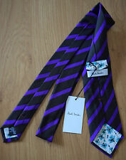 Paul Smith MAINLINE RARE Purple & Black MULTISTRIPE Tie 100% Silk 8cm