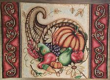 NWT Thanksgiving Cornucopia Fabric Cloth Tapestry Table Placemats Dining Decor
