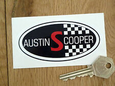 "AUSTIN COOPER S Style MINI Sticker 4"" Oval Classic Car Vinyl Retro Morris Check"