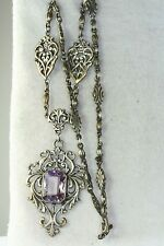 VTG ANTIQUE ITALY 800 SILVER LARGE AMETHYST UNSIGNED PERUZZI NECKLACE