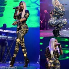 Nicki Minaj Replica GOLD CHAIN PRINT Lycra CATSUIT/BODYSUIT/DRAG QUEEN/ Sz 6-14