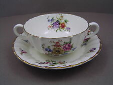 ROYAL WORCESTER ROANOKE CREAMWARE TWO HANDLED SOUP COUP AND SAUCER.