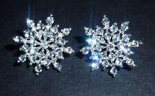 Crystal Snowflake Diamante Diamond Sparkly Rhinestone Earrings