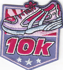 """""""10K"""" w/PINK ATHLETIC SHOE- Iron On Embroidered Patch -Sports, Words, Running"""