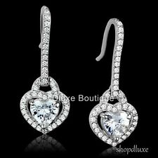 WOMEN'S 2.50 CT HEART SHAPE CZ .925 STERLING SILVER DANGLE FASHION EARRINGS