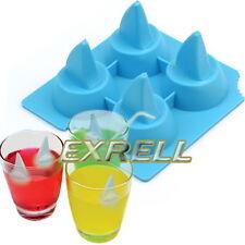 Stampo Cubetti di Ghiaccio Forma PESCECANE Squalo in Silicone Morbido Blu ex1l