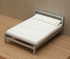 1:12 Dolls House Silver framed modern double bed with mattress