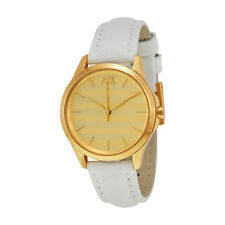Armani Exchange Gold Striped Dial White Leather Ladies Watch AX5236