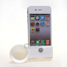 White Cute Silicone Horn Stand Amplifier Speaker Holder for Apple iPhone 4 4S 4G