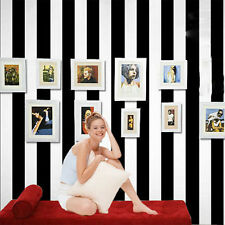 PVC paper Modern Black White Vertical Stripe Wallpaper 10M Roll For Home Decor