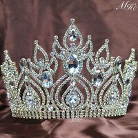 Magnificent Large Wedding Tiaras Pageant Crowns Clear Rhinestone Crystal Party