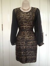 Black Gold Sheer Sleeve Bodycon Pencil Christmas Party Dress Size 10 BNWT