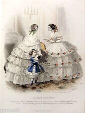 Gravure de Mode-Robes crinoline-Les Modes Parisiennes-1853-N°671-20 X26,5 cm