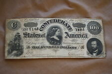 Estate Find T-65 1864 $100 Lucy Confederate States Of America Currency Note