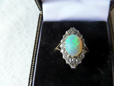 AN INCREDIBLE VICTORIAN 18ct GOLD MARQUISE OPAL & OLD CUT DIAMOND RING