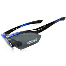 RockBros Cycling Polarized Bike Goggles Sports Glasses 100% UV400 Black Blue