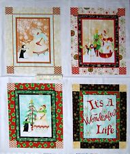"36"" Christmas Fabric Panel - RJR Holiday Dreams Penguin & Snowman Scenes White"
