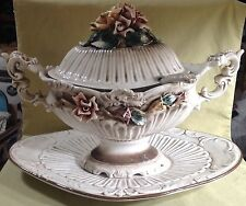 Huge Capodimonte style Urn Tureen with figural flowers inc. underplate & Ladle