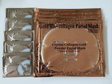 ( 10 )  5 Pcs Gold Bio Collagen Facial Face Masks + 5 Pairs Pilaten Eye Pads
