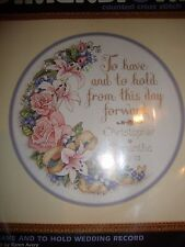 """Dimensions Counted Cross Stitch Kit TO HAVE AND TO HOLD WEDDING RECORD 12"""""""