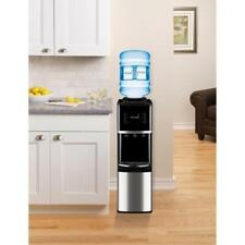 Top Load Water Dispenser Cooler Hot Room Temp Cold Stainless Steel Black New