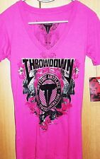 NWT Throwdown by Affliction Monarchy Pink V-Neck L Large Women's T-shirt New