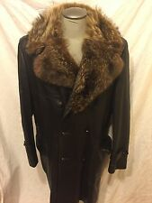 Vintage MAC MOR Coat Fur Trim Brown Leather Wool Long Double Breasted Men's L