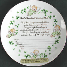 IRISH DECORATIVE PLATE PORCELAIN TO RECORD BABY'S BIRTH SHAMROCKS BABY ANGELS