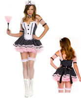 Sexy Ladies French Maid Fancy Dress Hen/Halloween Party Adult Costume Outfit