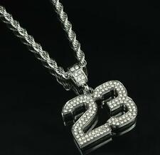 """Number # 23 Pendant Iced Out Lab Diamonds 24"""" Free Necklace Basketball Player"""