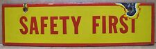 Original Old Porcelain 'SAFETY FIRST' SHELL GAS STATION Double Sided Adv Sign