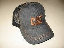 Cat Ball Cap Caterpillar Hat NWT Denim Blue w/ mesh back brown embroidered logo