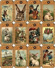 12 EASTER BUNNY - VINTAGE LOOK - PAPER CRAFT CARD TAG SCRAPBOOK