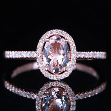 Morganite 5X7mm Oval Engagement Diamond Fine Ring Size6.5 Solid 14K Rose Gold