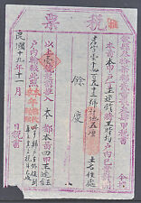 CHINA OLD DOCUMENT 1930? WE ARE TOLD THESE ARE HOUSING REVENUES?