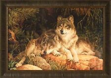 SOULMATES by Larry Fanning 24x34 Framed Print Picture Wolf Wolves Pine Trees