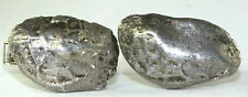 VINTAGE HAND WROUGHT STERLING SILVER NUGGET 14K WHITE GOLD CUFFLINKS