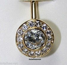1.5g Solid 14k Yellow Gold Stylish Belly Naval Ring Bezel Set D-Flawless cz SEXY