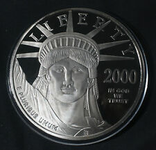 2000 4 OZ LIBERTY  .999 FINE SILVER ROUND LAYERED W/ PLATINUM LOT A