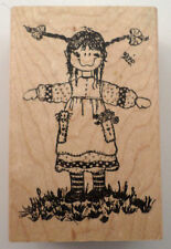 Wood Cellar Graphics 1991 Little Girl Spinning Wooden Rubber Stamp