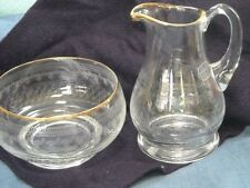 Bohemia Glass Czech Republic Orig Label Pitcher Creamer Bowl Etched Glass Gold
