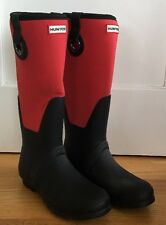 HUNTER Womens Size 10 SCUBA EYELET RED BLACK WELLY RAIN BOOTS Waterproof