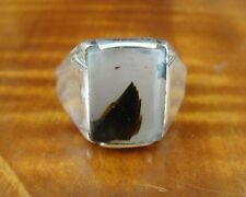 Vintage Agate Rectangle Stone Sterling Silver Men's RING Size 12 1/2